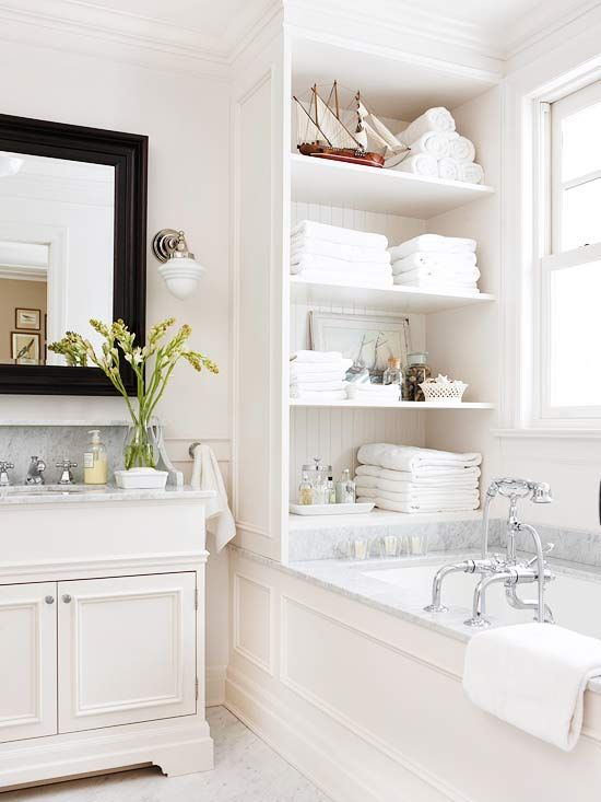 Look at the shelves and the tub... love this bathroom....
