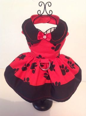 Red and Black paw print harness dog  dress for all small breed