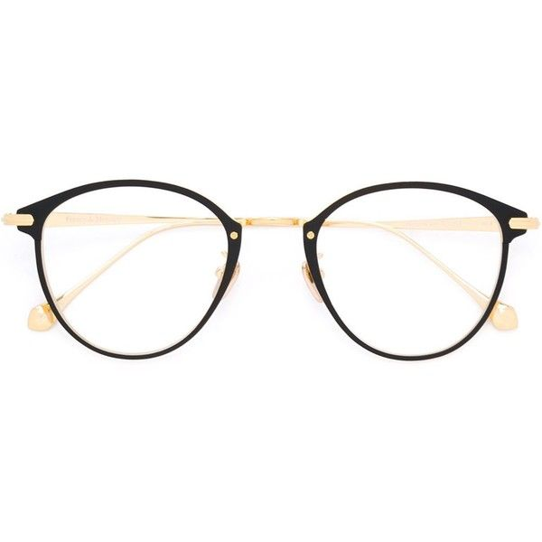 Frency & Mercury 'Mellow Go Round' glasses ($865) ❤ liked on Polyvore featuring accessories, eyewear, sunglasses, metallic, titanium glasses, unisex sunglasses, rounded sunglasses, black and gold round sunglasses and round glasses