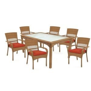 Martha Stewart Living Charlottetown Natural 7 Piece All Weather Wicker  Patio Dining Set With Quarry Red Cushion