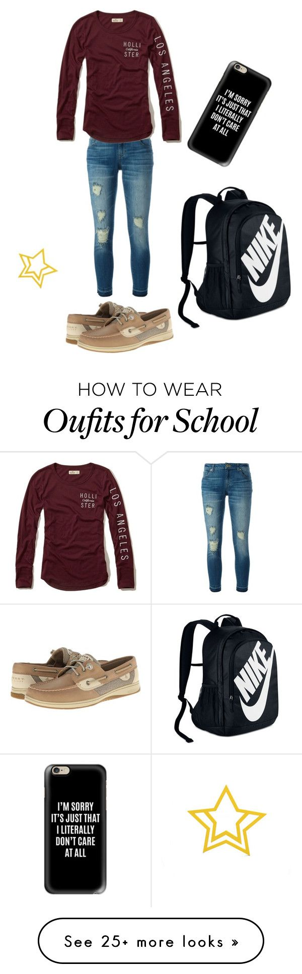"""Back to school"" by heidi-renken on Polyvore featuring MICHAEL Michael Kors, Hollister Co., Casetify, NIKE and Sperry"