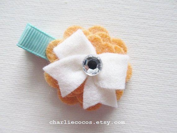 Feltro di lana/bambine fiore fermacapelli con strass fiore capelli Clip, Clip di prua di capelli bambino, ragazze capelli Clip di prua, sent...