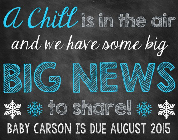 Winter Chalkboard Pregnancy Announcement Pregnancy Reveal Winter Announcement Winter Pregnancy Snowflakes
