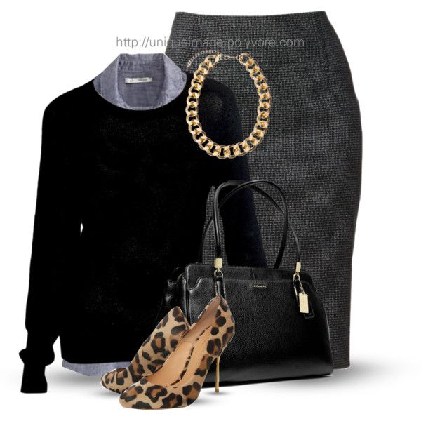 Work OutfitWork Girls, Working Girls, Fashionista Trends, Leopards, Animal Prints, Pencil Skirts, Work Outfits, Business Casual, Black Sweaters