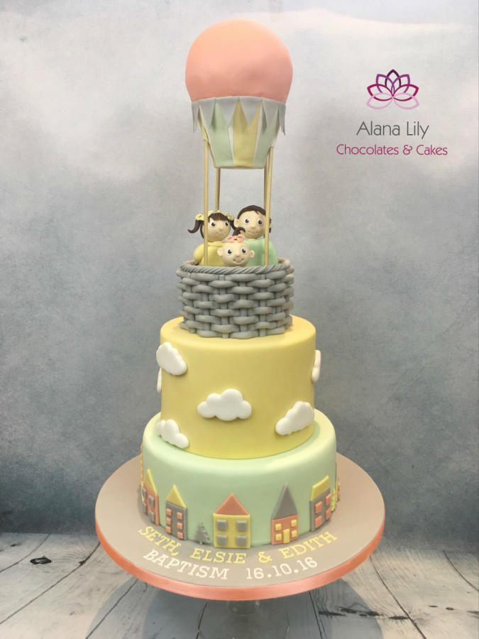 Hot air balloon christening cake by Alana Lily Chocolates & Cakes