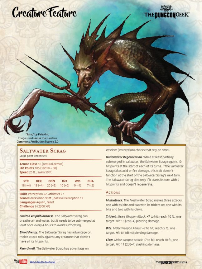 D&D Creature Feature – Saltwater Scrag | Monster Stat Block Sheets