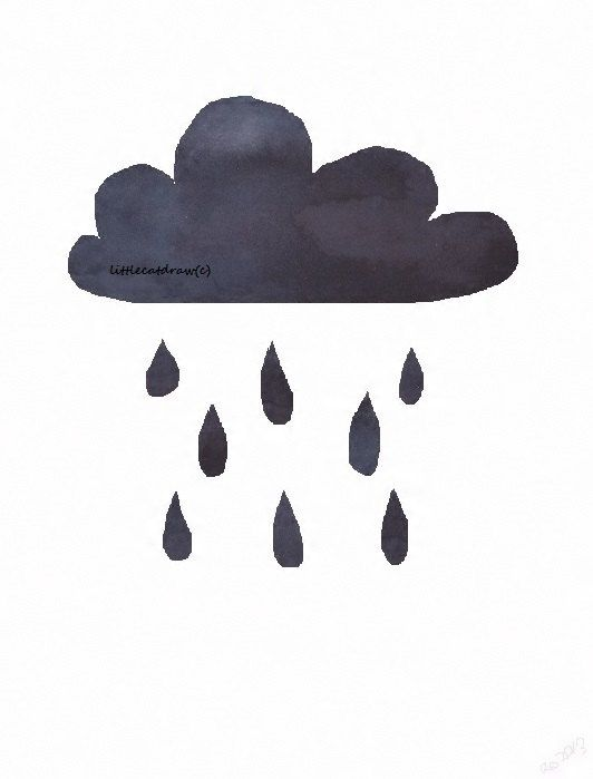 Little Black Rain Cloud  Watercolor Painting  Art by littlecatdraw