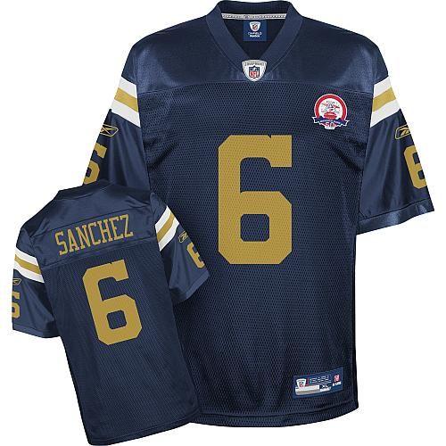 Reebok New York Jets Mark Sanchez 6 Authentic Blue Jerseys Sale