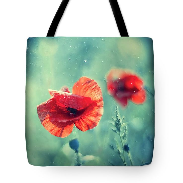 Tote Bag featuring the photograph Red Poppy On Aqua by Oksana Ariskina. A red garden poppy flower in a sparkling bokeh aqua turquoise sunny abstract background. Available as mugs, posters, greeting cards, phone cases, throw pillows, framed fine art prints, metal, acrylic or canvas prints, shower curtains, duvet covers with my fine art photography online: www.oksana-ariskina.pixels.com #OksanaAriskina