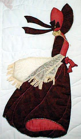 """#6 """"Bonnet Girl Relatives & Friends"""" Charlotte $6.50. Charlotte is strolling in the wind with her lace shawl and red gloves that match her red bonnet and ribbons."""