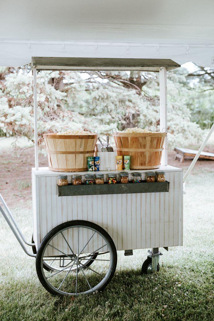 Wedding popcorn cart.  Jacoby Photo and Design | St. Louis wedding