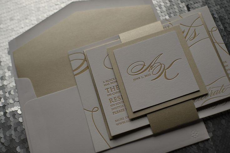 formal wedding invitation, letterpress wedding invitation, champagne and gold