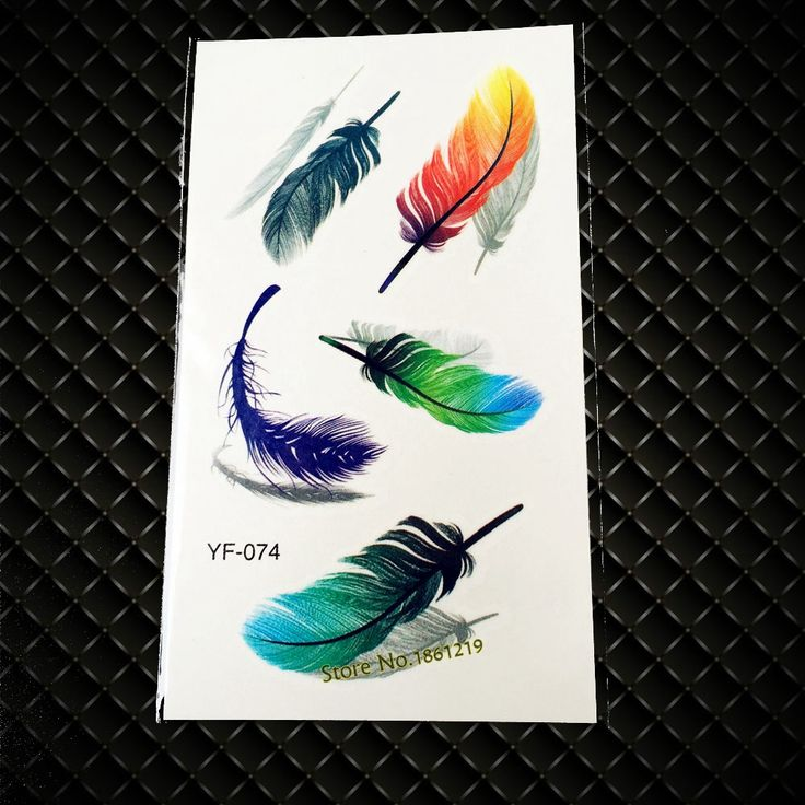 New Fashion Colorful Feather Tattoo Flash 3D Temporary Tattoo Stickers GYF-074 Sexy Men Women Body Art Arm Waterproof Tattoo