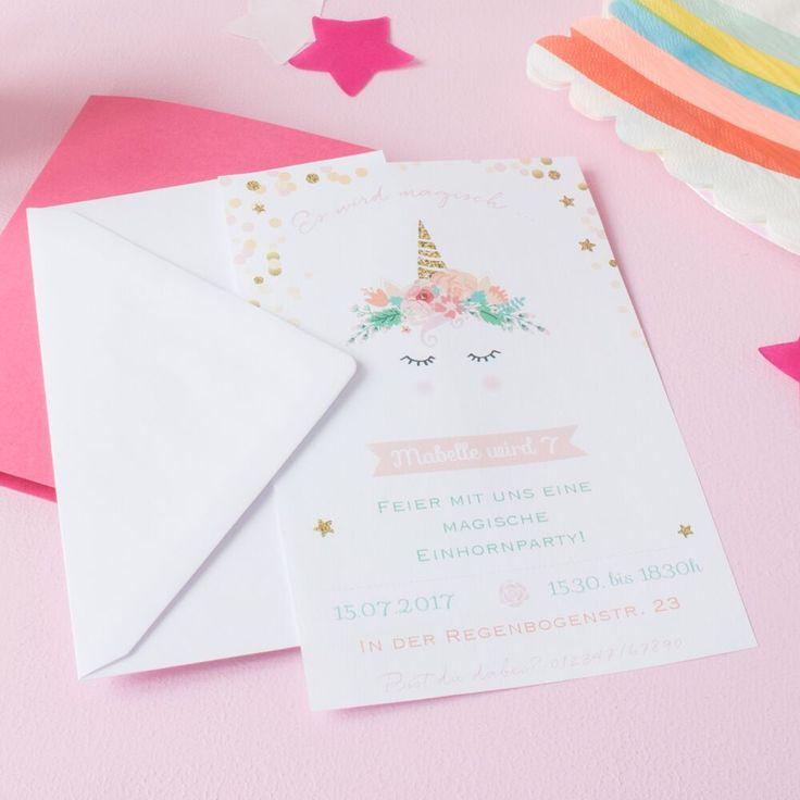 einladungskarte einhorn magisch pastell  einladung