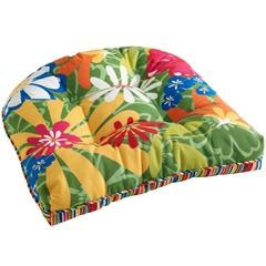 Pier 1 Whimsical Garden Chair Cushion also reverses to stripes. Have these on the wicker furniture by the water.