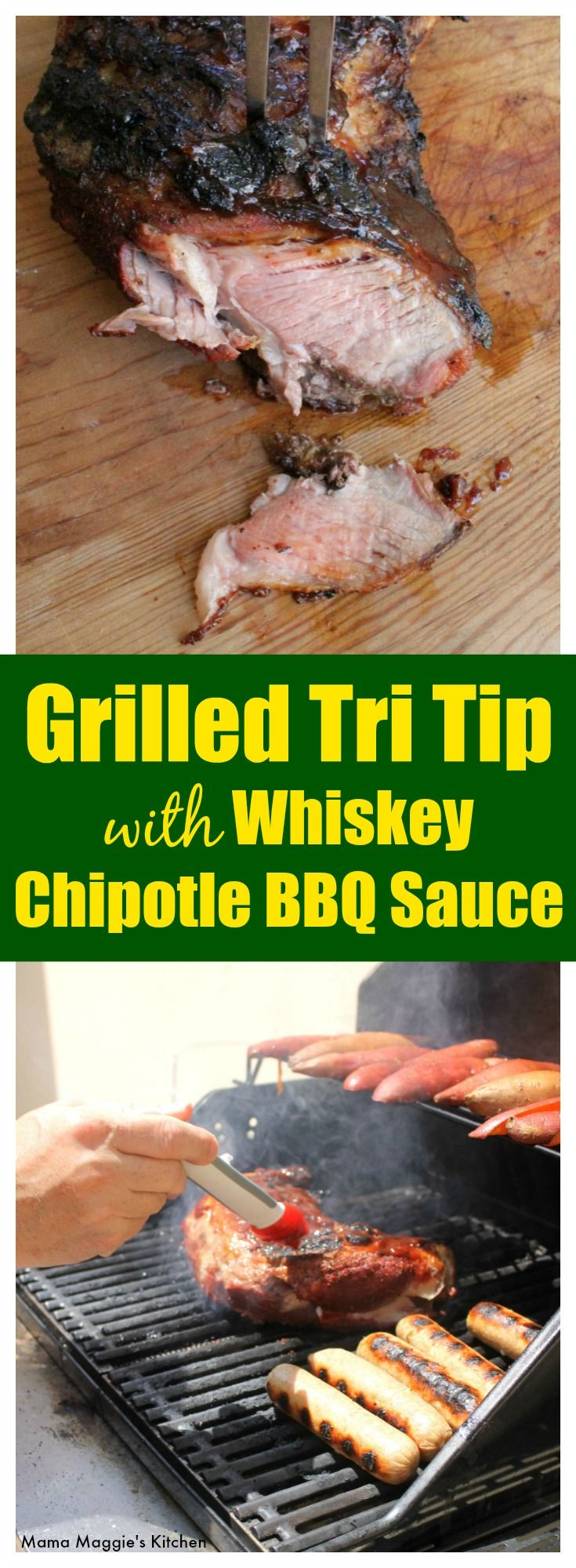 Grilled Tri Tip with Whiskey Chipotle BBQ Sauce is made for summer cookouts and hanging out with friends. This tender and soft meat is layered with a spicy, sweet sauce that you and your guests will love. By Mama Maggie's Kitchen