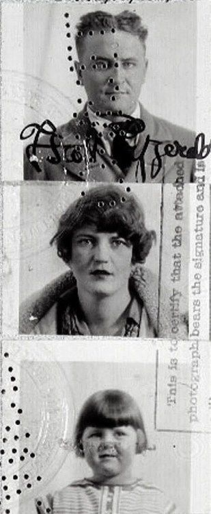 Passport photos of F. Scott, Zelda, and Scottie Fitzgerald