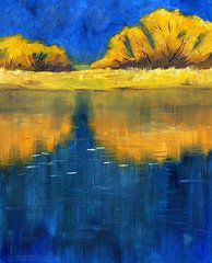 American Abstract Expressionist Landscape Paintings - Nisqually Reflection by Nancy Merkle