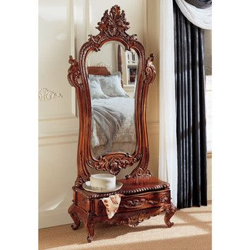 Features:  -Solid mahogany.  -Hand carved.  -Finish: Mahogany.  -Hand finished.  -Victorian collection.  Shape: -Irregular.  Style: -Traditional.  Drawers Included: -Yes.  Beveled Glass: -Yes.  Tilt M