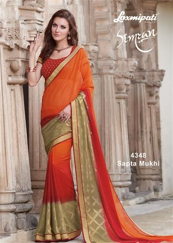 Browse this Amazing Orange, Red & Olive Green Georgette Foil Work Saree with Red Georgette Blouse along with Golden Zari Lace Border online at www.laxmipati.com. Limited stock! 100% Genuine products! #Catalogue #Simran Price - Rs. 1823.00 Visit for more designs@ www.laxmipati.com #Sarees #‎ReadyToWear ‪#‎OccasionWear ‪#‎Ethnicwear ‪#‎FestivalSarees ‪#‎Fashion ‪#‎Fashionista ‪#‎Couture ‪#‎LaxmipatiSaree ‪#‎Autumn ‪#‎Winter ‪#‎Women ‪#‎Her ‪#‎She ‪