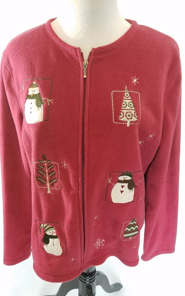 Embellished Fleece Cardigan Womans Zipper Croft & Barrow Green Snowman Winter M #CroftBarrow #Cardigan
