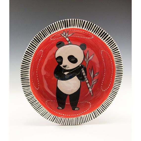 Panda Bowl A Painted Bowl by Jenny Mendes