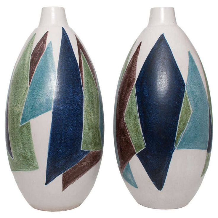 Two Huge Swedish Mid-Century Modern Ceramic Vases by Mette Dollar for Hoganas   From a unique collection of antique and modern vases at http://www.1stdibs.com/furniture/dining-entertaining/vases/