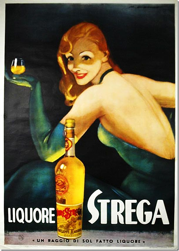 vintage ad for Strega liquor