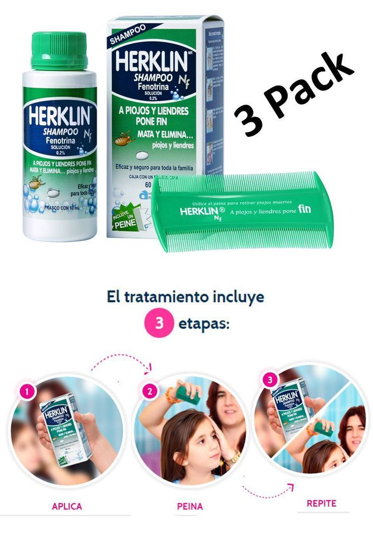 Medicated Hair Treatments: 3 Pack Herklin Shampoo Mata Piojos Liendres Cada Bote Con 4 Oz (120 Ml) -> BUY IT NOW ONLY: $58.99 on eBay!