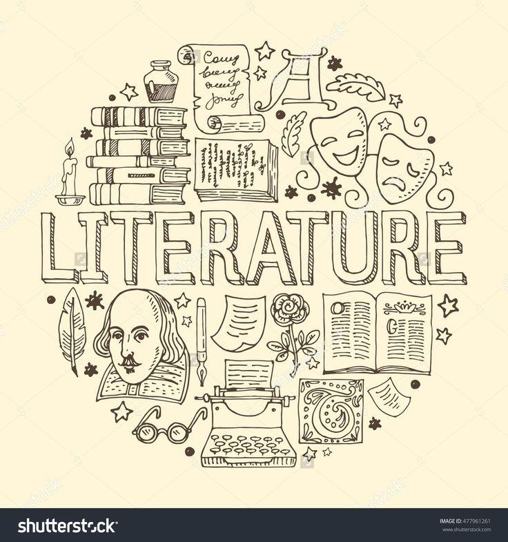 Gezeichnete Vektorillustration der Literatur Hand …