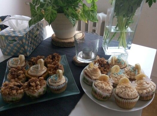 Cheesecake apple cupcake and banana muffins with peanut butter frosting