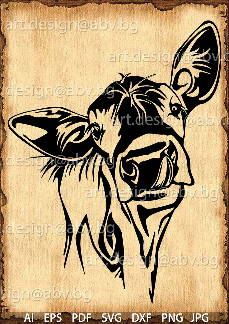 Vector COW, calf, head, AI, PNG, eps, pdf, svg, dxf, jpg