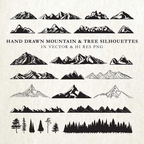 Hand Drawn Mountain Silhouette and Rustic Tree by seaquintdesign