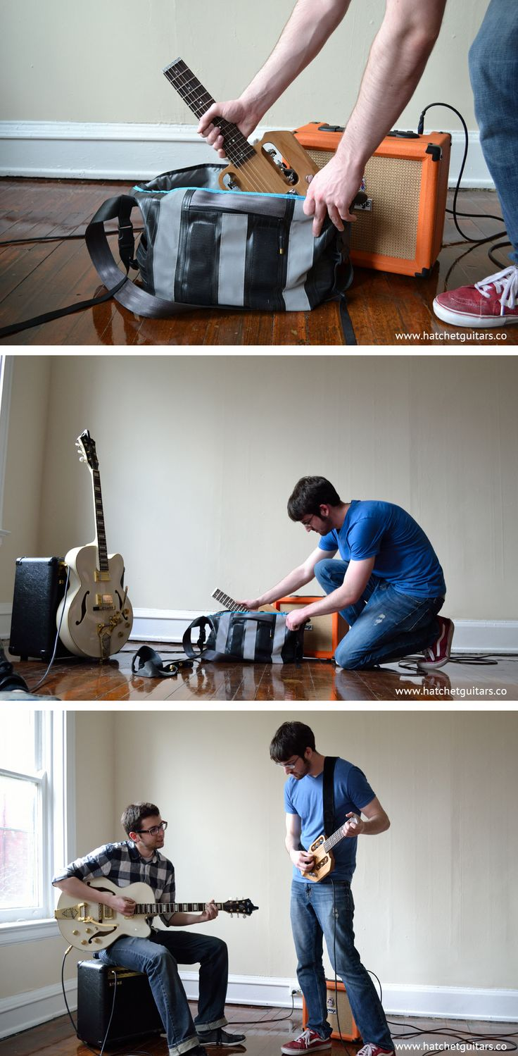 A portable guitar that fits in a backpack. www.hatchetguitars.co