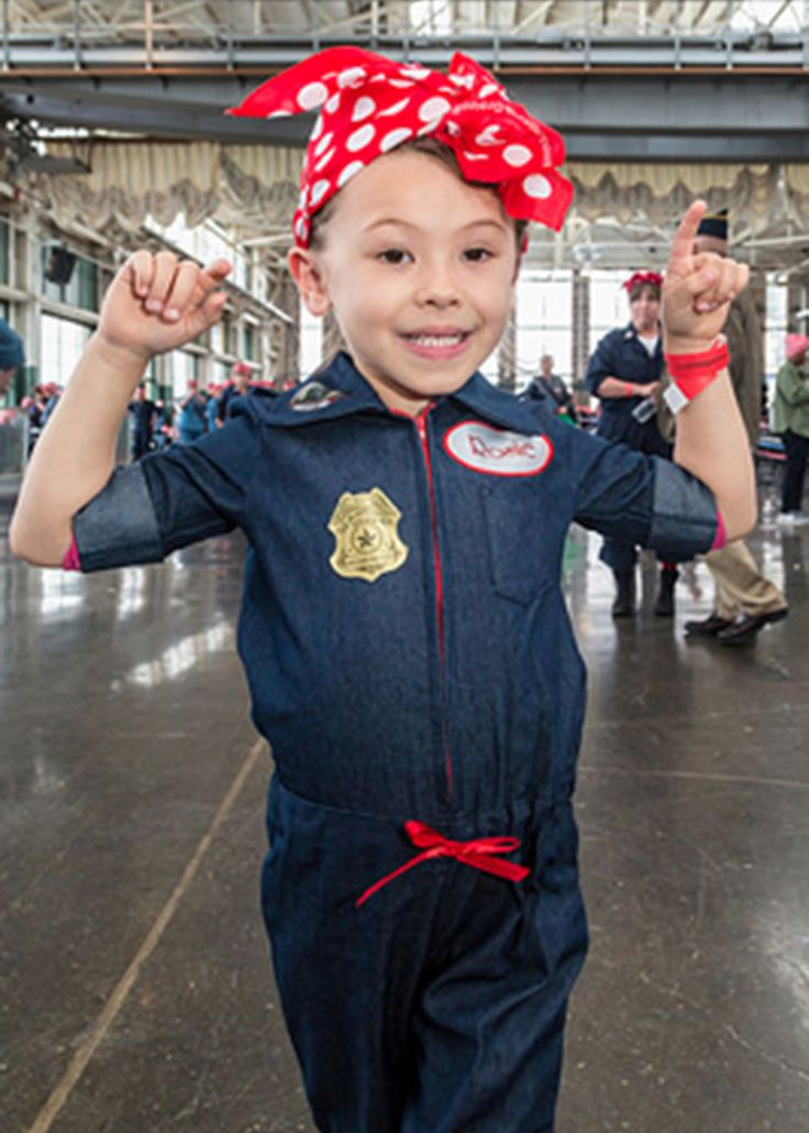 This young Rosie the Riveter wears her Rosie's Legacy Bandana at the Rosie the Riveter Trust Rosie Rally in Richmond, California