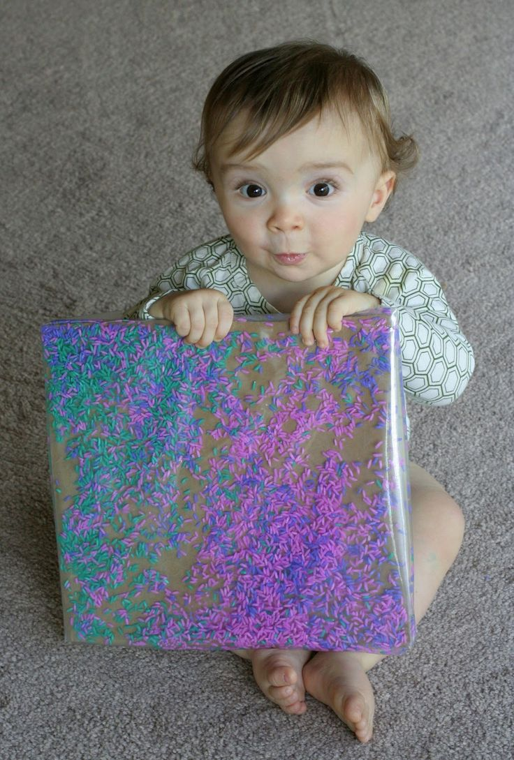 Baby/Toddler Colored Rice Art from Fun at Home with Kids