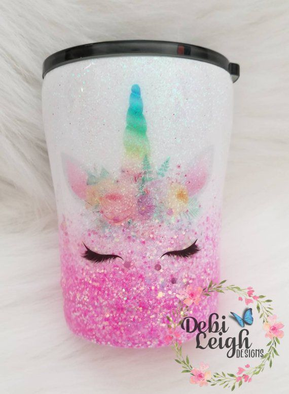 Stainless Steel Glittered 10 Oz Insulated Tumbler With Lid For Coffee Small Drinks Unicorn Pink Tumblers With Lids Custom Tumblers Insulated Tumblers
