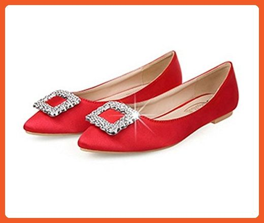 YINHAN 2016 Women's Fashion Silk Slip on Crystal Buckles Square-Toe Ballet Flats Shoes-red-36 - Flats for women (*Amazon Partner-Link)
