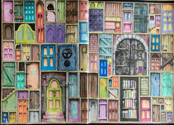 Colin Thompson Fantastisches Malbuch. Second Spread, Doors, coloured by Prue.