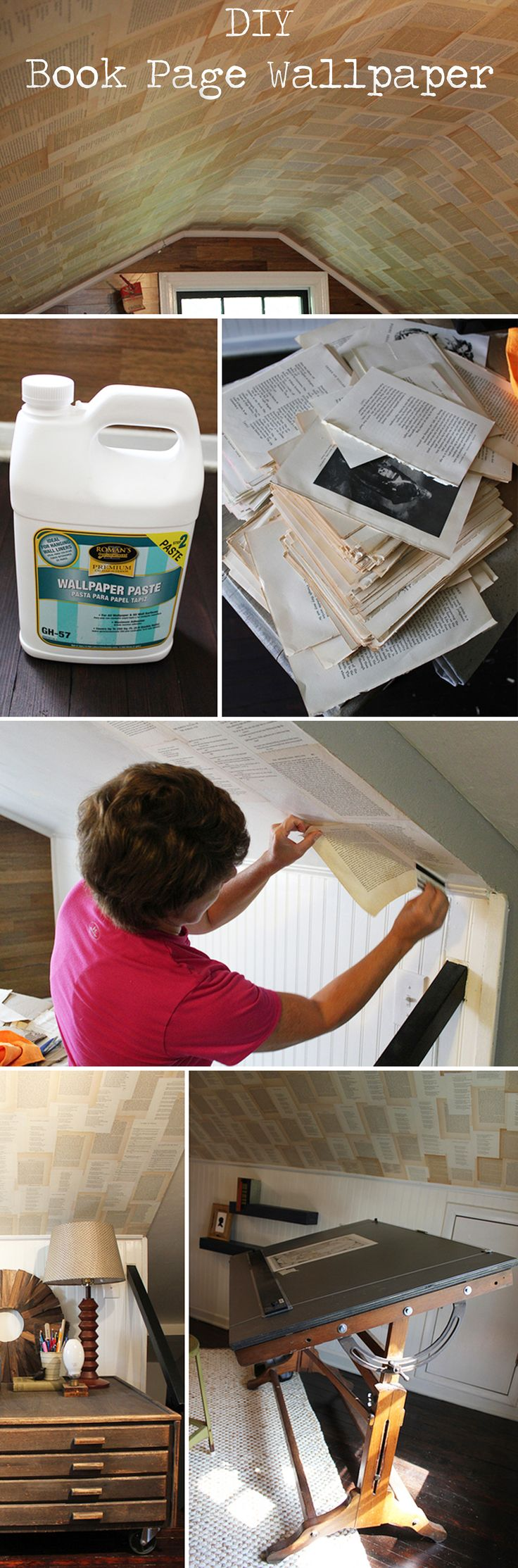 Technique   WALLPAPER :: How To Wallpaper w/ Book Pages (Permanent) :: Uses wallpaper paste. Tip: Smooth pages out w/ a credit card!   #bookpages #karapaslaydesigns #wallpaper