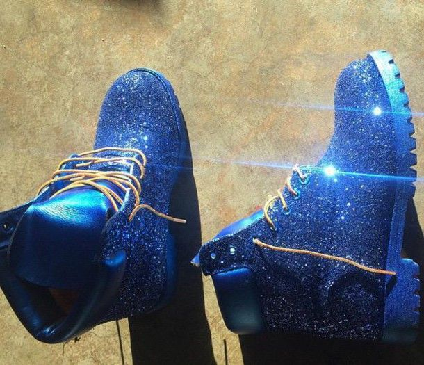 shoes timberlands blue glitter tumblr trendy girly tumblr shoes