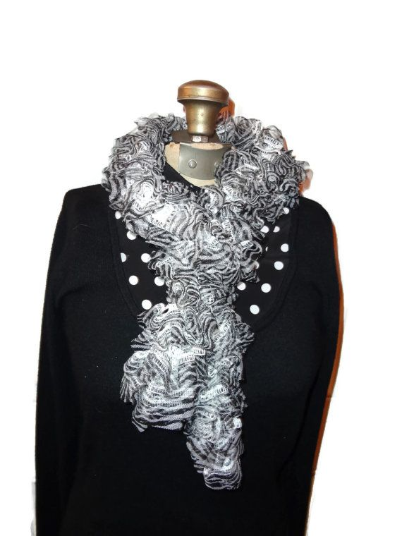 Ruffle Scarf Black and White Zebra Handmade by chrysalisjewelrytx, $20.00