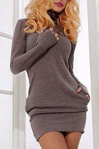 Brief Turtleneck Pure Color Long Sleeve Dress For Women Long Sleeve Dresses | RoseGal.com Mobile