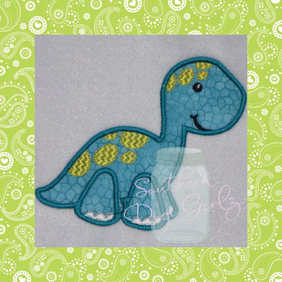 Cute Brontosaurus Applique Embroidery Design by SouthernDigiGirlz, $4.00