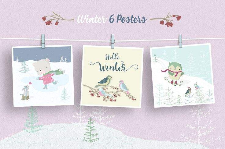 Winter Forest Illustration Set by Moving Parallels on @creativemarket  Includes sweet vector, fantasy drawing elements made in kids sketch style. Design created in cartoonish flat style in pastel Scandinavian colors. Use posters for cards, prints, children books, birthday or anniversary events, invites, promotion, unique t-shirt prints, stickers, wallpaper design images or backgrounds and other artworks for sale or make them black and white and use for coloring book pictures or pages.