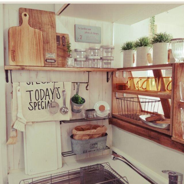 Kitchen,100均,DIY,カフェ風,セリア,ナチュラルカントリー,ナチュラルキッチン,TODAY'S SPECIAL,シンク周りのインテリア実例 | RoomClip (ルームクリップ)