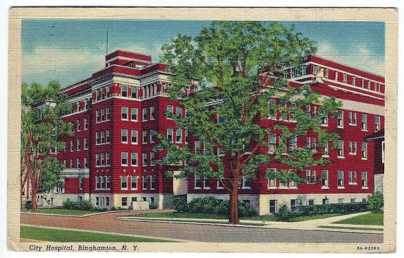 1945 Binghamton NY Hospital Linen Postcard, Upstate, New York Northeast, Medical Medicine Doctor Nurse Patient, Antique Ephemera by OakwoodView