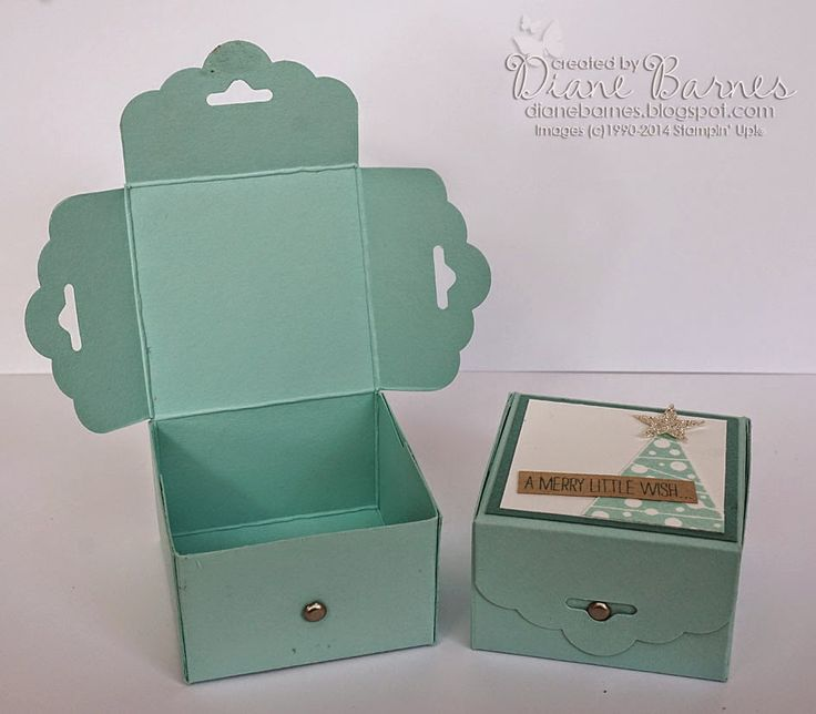 Stampin Up scalloped tag topper punch box for Christmas with Festival of Trees. Tutorial link in post. By Di Barnes #colourmehappy