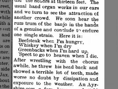 Sweet Heaven When I Die heard in Jacksonville, FL - 27 March 1883 - The Olean Democrat (NY)