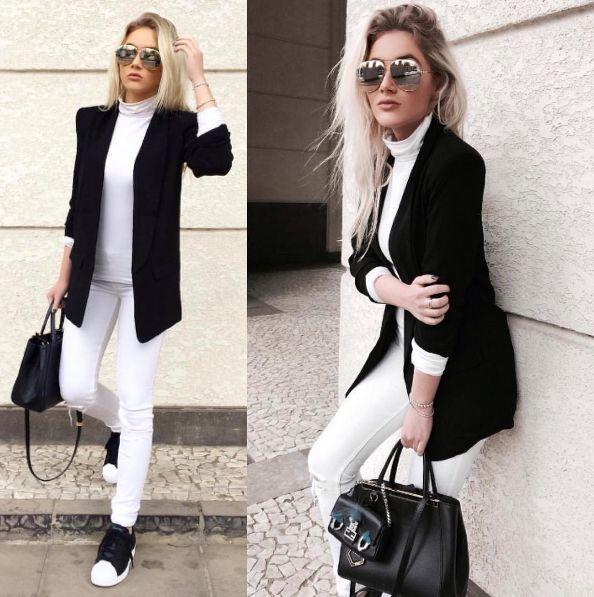 | Look Branco + Detalhes em Preto |